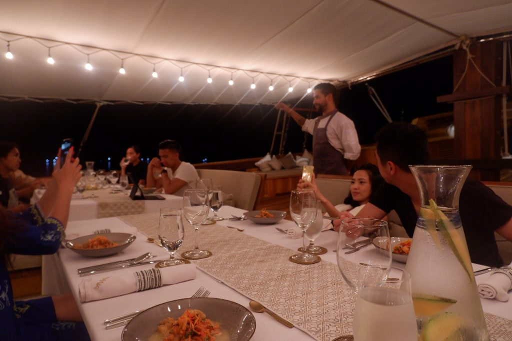 Dinner on board Prana