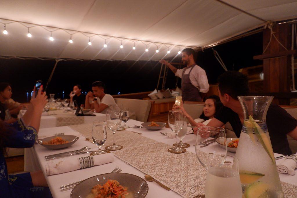 Dinner on board Prana